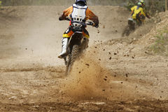 Motocross bike increase speed in track Stock Images