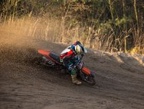 Motocross bike in a race. Close-up Royalty Free Stock Images