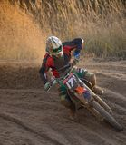 Motocross bike in a race. Close-up Royalty Free Stock Photos