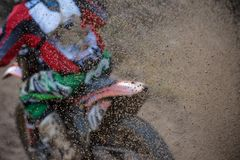 Motocross bike in a race. Close-up Stock Photo