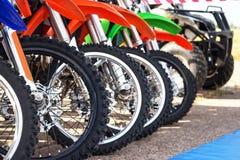 Motocross bike in row Royalty Free Stock Photos