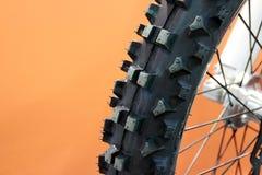 Motocross Bike Tyre in Closeup. Motocross Bike Tyre Treatwear Image Stock Photography