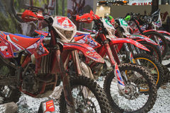 Motocross bikes at EICMA 2014 in Milan, Italy Stock Photography