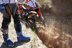 Motocross club workout. Lithuania-city Radviliskis, May 24.2015.Moto club workout sunny spring weekend, sand quarries Royalty Free Stock Photo