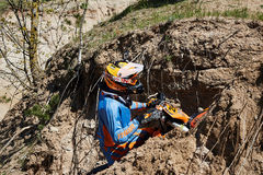 Motocross club workout. Lithuania-city Radviliskis, May 24.2015.Moto club workout sunny spring weekend, sand quarries Royalty Free Stock Photography