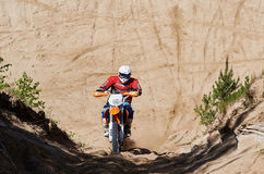 Motocross club workout. Lithuania-city Radviliskis, May 24.2015.Moto club workout sunny spring weekend, sand quarries Stock Images