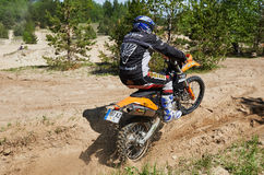 Motocross club workout. Lithuania-city Radviliskis, May 24.2015.Moto club workout sunny spring weekend, sand quarries Stock Photos