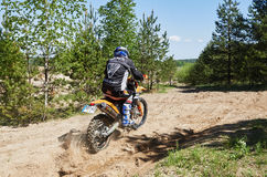 Motocross club workout. Lithuania-city Radviliskis, May 24.2015.Moto club workout sunny spring weekend, sand quarries Royalty Free Stock Image