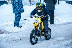 Motocross in de winter Royalty-vrije Stock Foto's