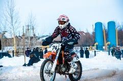 Motocross in de winter Royalty-vrije Stock Afbeeldingen