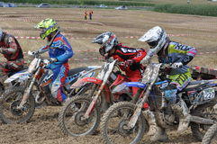 Motocross drivers before starting the race Royalty Free Stock Photography