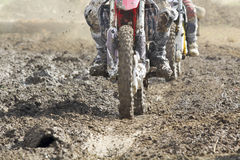 Motocross enduro bike in dirt track. Royalty Free Stock Photos