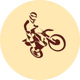 Motocross enduro racer. Motocross enduro background. Silhouette of a man who rides on a motorbike . Vector illustration Royalty Free Stock Image