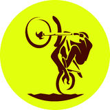 Motocross enduro racer. Dark silhouette on round background. Vector sign Royalty Free Stock Photography