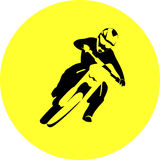 Motocross enduro rider. Black silhouettes Motocross rider on a motorcycle. Round Vector illustration Royalty Free Stock Image