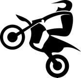 Motocross Enduro rider. Black silhouettes Motocross Enduro rider on a motorcycle. Vector illustrations Stock Photography