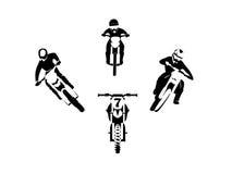 Motocross enduro set. Vector illustration set of motocross enduro moto racer Stock Image