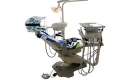 Motocross equipping helmet dental chair Stock Image