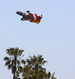 Ronnie Renner at Motocross Event Tricks. Taken on 5/11/12 in Venice Beach, California Red Bull X-Fighters freestyle event. Ronnie Renner doing a trick Royalty Free Stock Photo