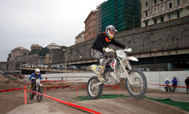 Motocross exhibition - Genoa Fair Spring 2010 Royalty Free Stock Images