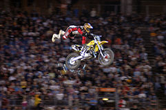 MOTOCROSS EXTREME SPORT STUNT RIDER ON A DIRT BIKE Royalty Free Stock Photography