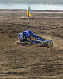 Motocross: fall on the track royalty free stock photography