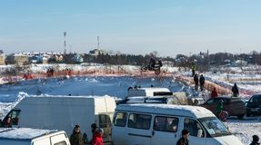 Motocross am Festival Winterspaß in Uglich, 10 02 2018 in ug Stockfotos