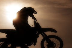 Motocross freedom. Motocross rider freedom and sunset Royalty Free Stock Photos