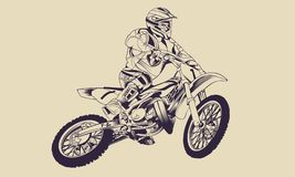 Motocross Freestyle Line Art Vector. A line art of one`s free style above motocross, this line art is very detailed in terms of light, shadow, and color texture Royalty Free Stock Photography