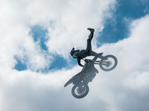 Motocross freestyle rider No Foot jump Stock Photos