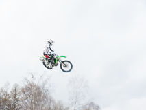 Motocross freestyle rider Whip jump Royalty Free Stock Images