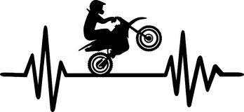 Motocross heartbeat line. Heartbeat pulse line with motocross stunt driver and word Royalty Free Stock Images