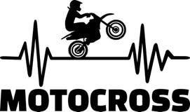 Motocross heartbeat pulse. Heartbeat pulse line with motocross stunt driver Stock Image