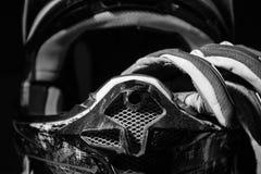 Motocross helmet and gloves. Royalty Free Stock Photos