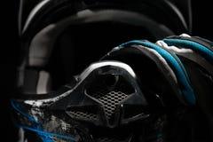 Motocross helmet and gloves. Stock Photo