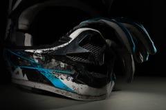 Motocross helmet and gloves. Royalty Free Stock Photo