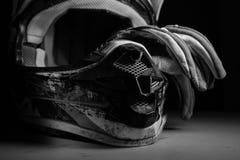 Motocross helmet and gloves. Stock Image