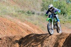 Motocross high jump Royalty Free Stock Image