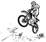Motocross illustration. Motocross hand drawn illustration in grunge style Stock Photo