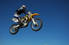 Motocross Jump. Motocross Race. Motorbike Flying High stock image