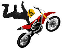 Motocross jump graffiti style isolated vector illustration. FMX freestyle motocross jump trick One Hand Tail Grab graffiti style isolated color vector Royalty Free Stock Images