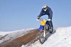 Motocross, landing standing on one leg Royalty Free Stock Image