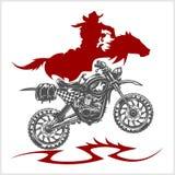 Motocross Moto et cheval - emblème de vecteur Image stock
