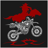 Motocross Moto and Horse - vector emblem Stock Photo