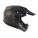 Motocross motorcycle helmet Isolated on white background,black ,shiny carbon fiber Stock Images