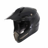 Motocross motorcycle helmet Isolated on white background,black ,shiny carbon fiber Royalty Free Stock Images