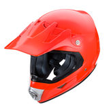 Motocross motorcycle helmet Isolated on white background,red shiny Stock Images