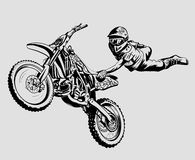 Motocross. Motorcycle jump on a gray background isolated Royalty Free Stock Photo