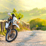 Motocross motorcycle sunset Royalty Free Stock Photo
