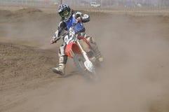 Motocross, Motorradmitfahrer, Kurve Stockfotos
